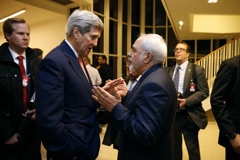 Secretary of State John Kerry talked with Iranian Foreign Minister Javad Zarif in Vienna on Jan. 16.     PHOTO: KEVIN LAMARQUE/ASSOCIATED PRESS