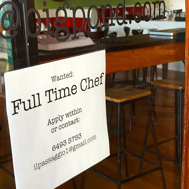 Full time chef wanted email us ilpassaggio1@gmail.com