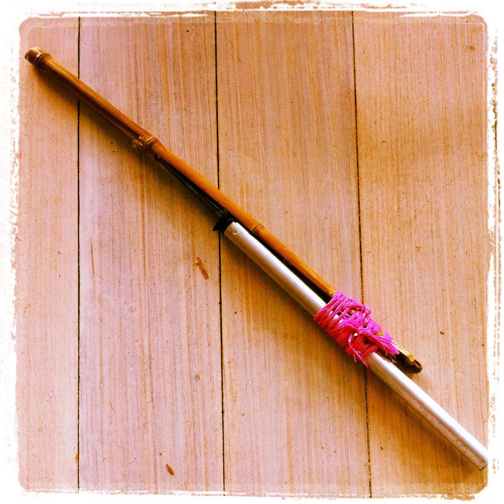 Pink string shotgun, inkjet print, 20 x 20 cm