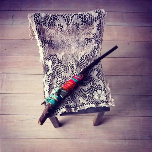 Raffia shotgun on lace, inkjet print, 20 x 20 cm