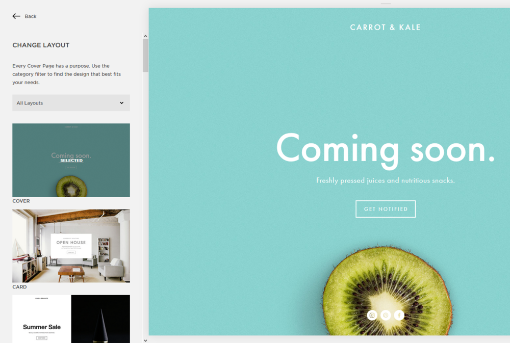 Squarespace Cover Page Template Options