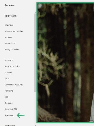 Squarespace Advanced Settings Menu.