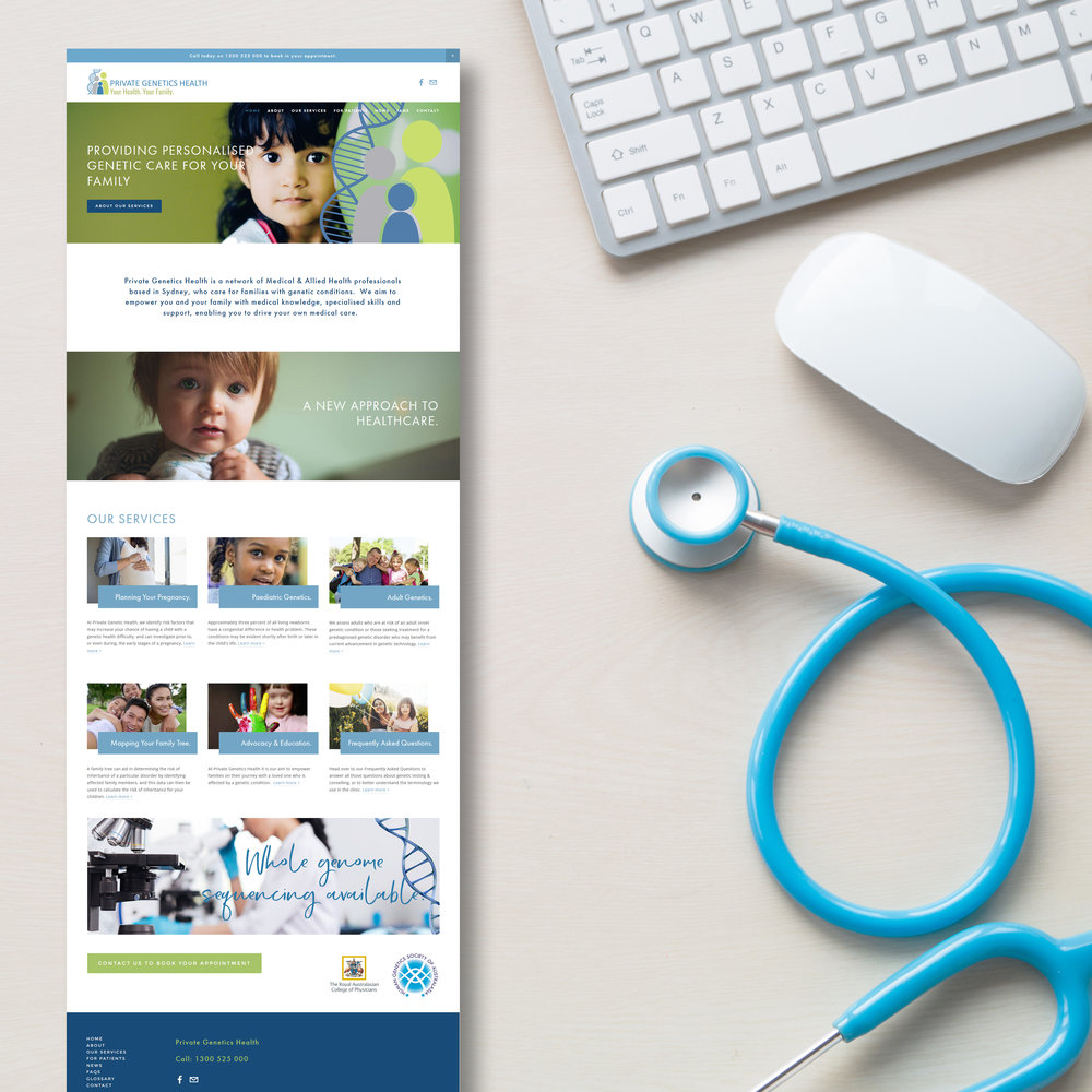 Genetics Healthcare Website design by Handsome Ground Studio