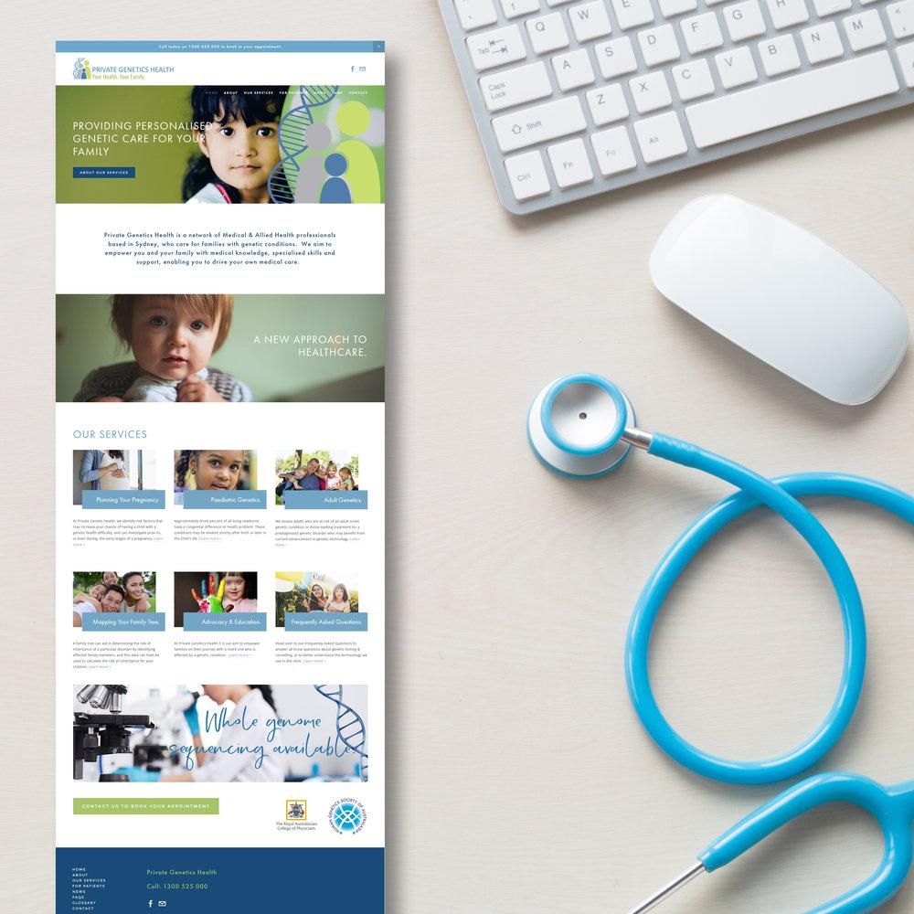 Genetics Healthcare Website design by Handsome Ground Studio