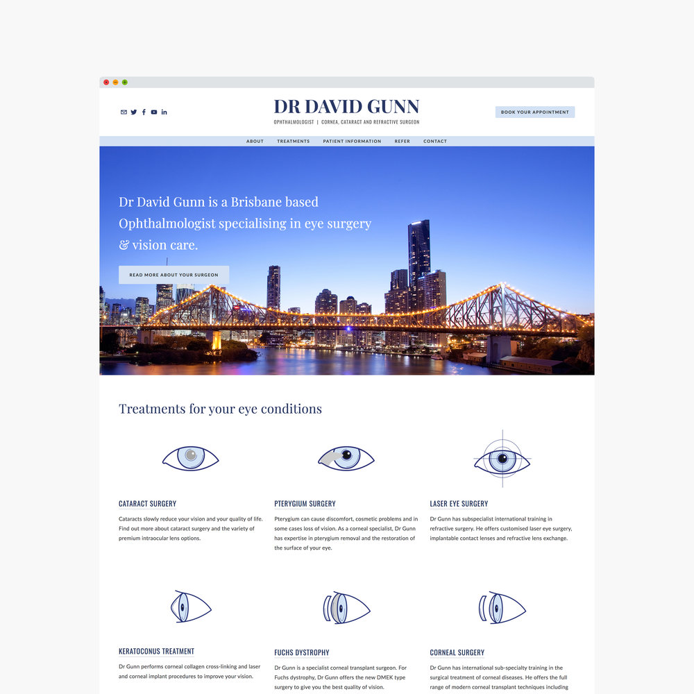 Ophthalmologist website designed by Handsome Ground Studio Canberra.