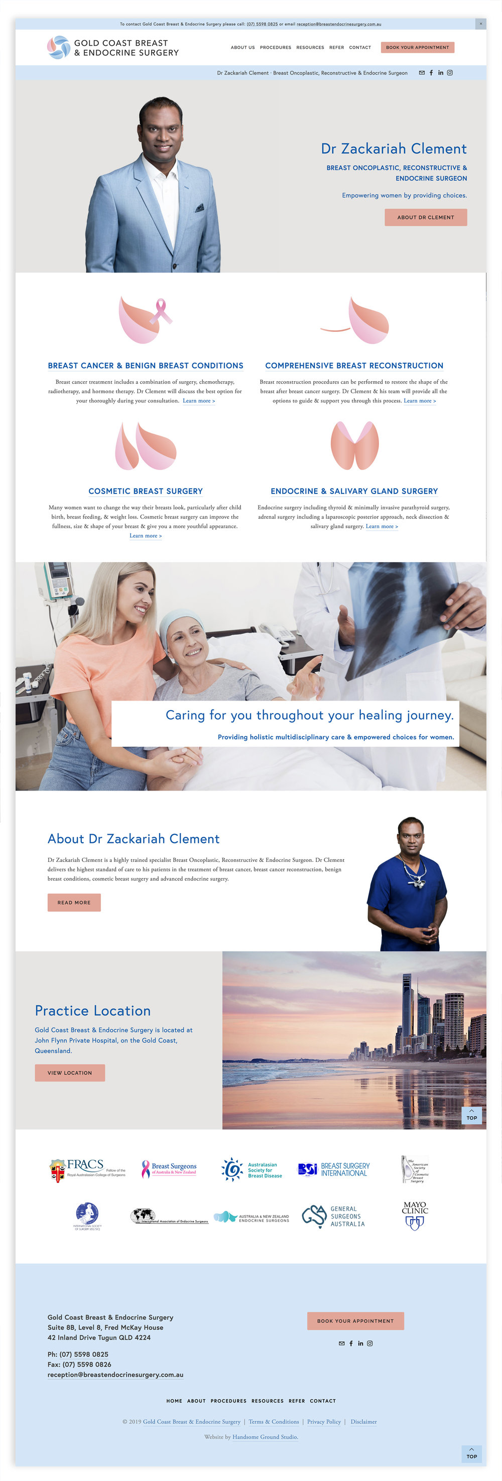 Breast Endocrine Surgeon website and Branding designed by Handsome Ground Studio Canberra.
