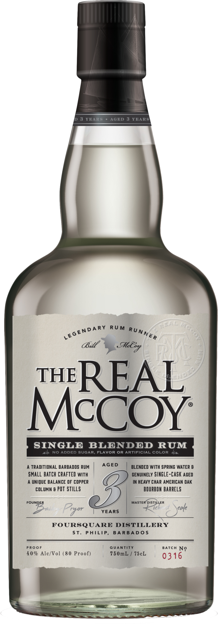 High-Res PNG-The Real McCoy Single Blended Rum 3 Yr 40 ABV 750ml Front Bottle Shot  - NOT FOR PRINT PRODUCTION.PNG