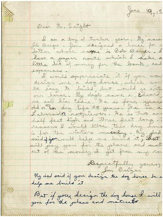 Jim Berger tenía 12 años de edad cuando escribió a Frank Lloyd Wright.