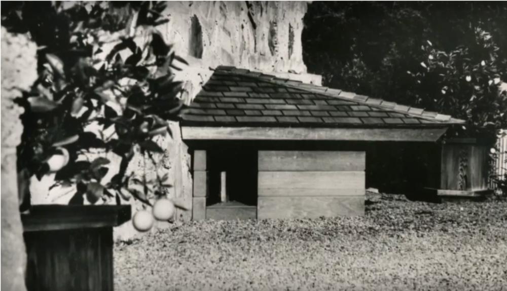 Casa para perro diseñada por Frank Lloyd Wright y construida por Jim Berger y su papá. Dato curioso: cuenta Jim, que su perro Eddie nunca durmió ahí.