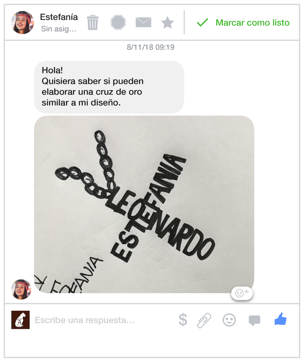 Conversación con Estefanía por Facebook Messenger
