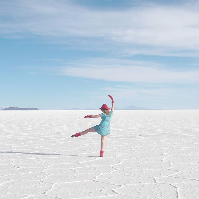 "I wrote about trying to convince people you can dance when you cannot in fact dance (link in bio or ✏ http://carolinejdale.com/audition)  The photo is me on the Salar de Uyuni in Bolivia nine years ago. When my sister, who actually can dance, saw this picture she said ""Hahahaha what's up with the bullshit fake ballet pose"". So you can see I'm up against it. 📷@rolldarl"