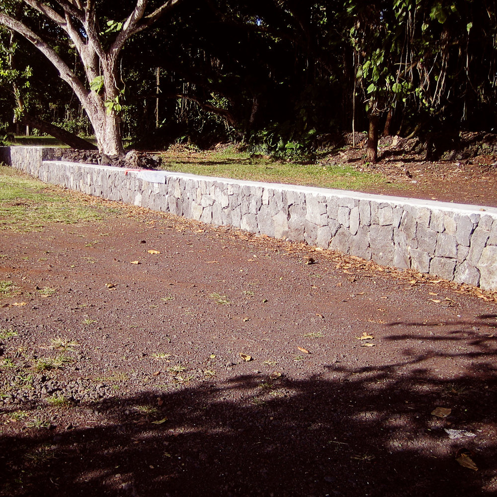 Kainoa's rock wall at Poho`iki in Puna, Hawaii.