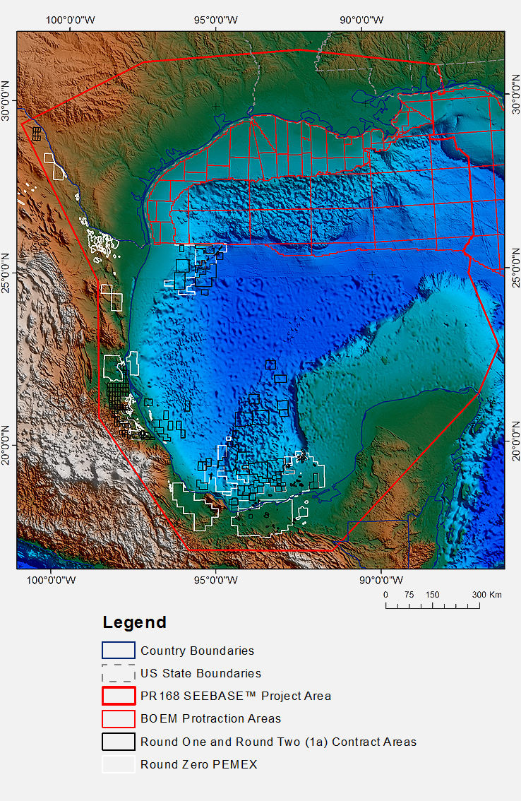 Gulf of Mexico SEEBASE Lite - Digital Elevation Model showing complete product coverage of all permit areas (excluding the US Congressional Moratorium area).