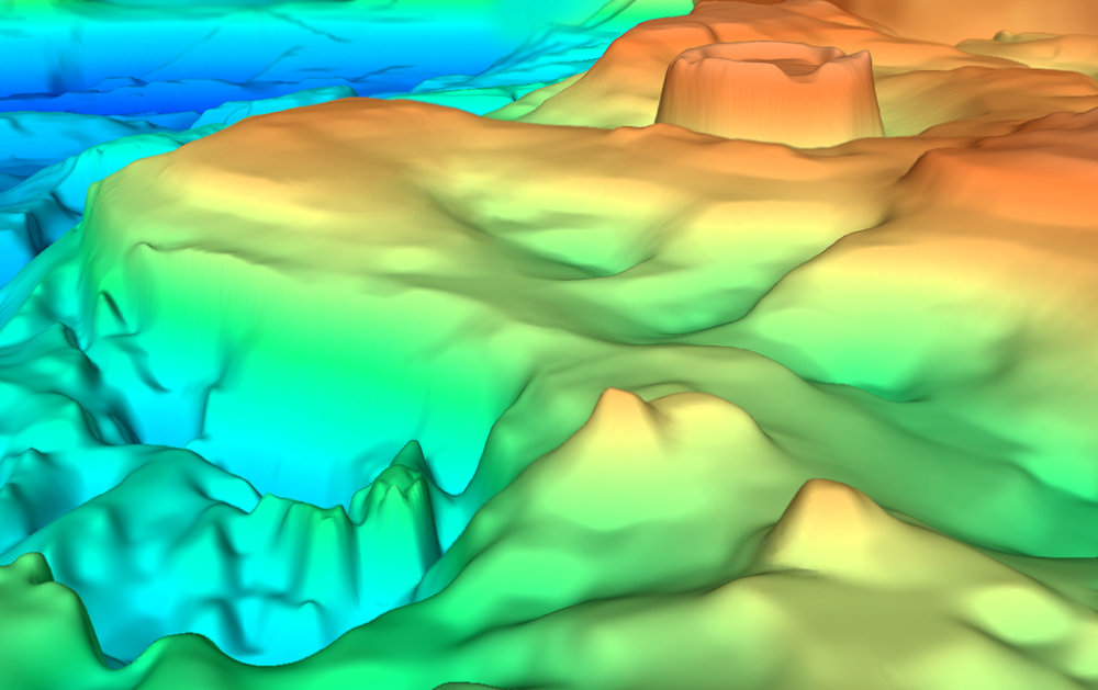3D image of the Gulf of Mexico depth-to-basement SEEBASE showing the Campeche Shelf (lower left) and Yucatan Platform with the Chicxulub crater (top right; shallow basement indicates the central melt zone).