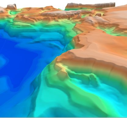 3D image of the Black Sea depth to basement SEEBASE showing the northern reactivated margin in the Crimea region.