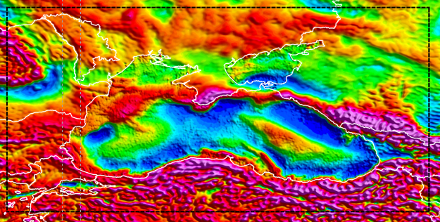 Black Sea SEEBASE Lite includes Frogtech Geoscience's proprietary enhancements of Core Datasets including gravity (above), magnetics and DEM.