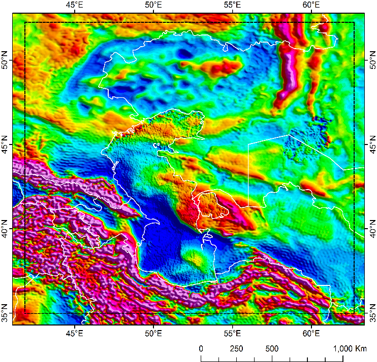 Greater Caspian SEEBASE Lite includes Frogtech Geoscience's proprietary enhancements of Core Datasets including gravity (above), magnetics and DEM.
