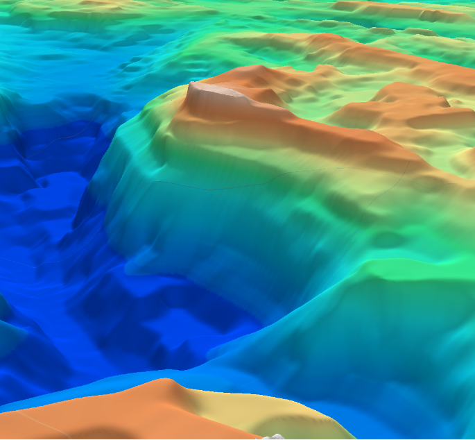 3D oblique view of the Greater Caspian depth-to-basement SEEBASE.
