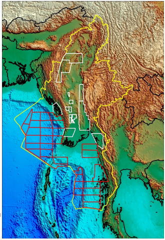 Myanmar SEEBASE  Lite  - Digital Elevation Model showing complete product coverage.