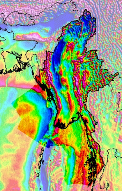 Myanmar SEEBASE  Lite  includes Frogtech Geoscience's proprietary enhancements of Core Datasets including gravity (above), magnetics and DEM.