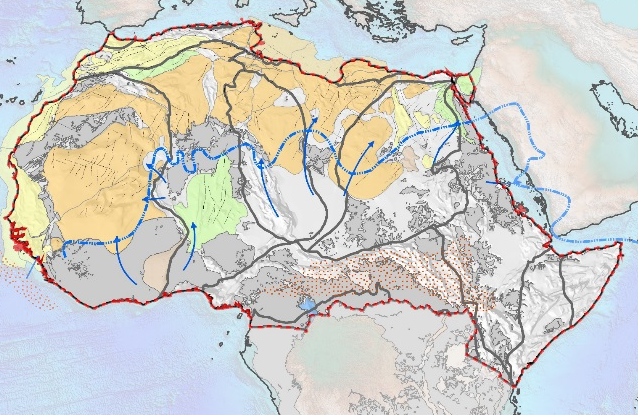 One time-slice showing basin phases and palaeography in North Africa