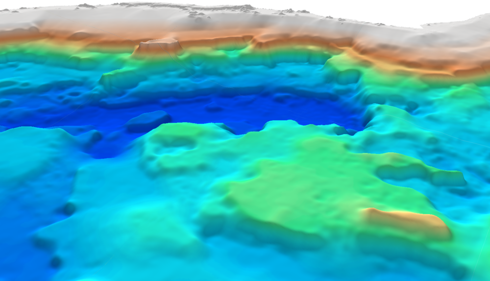 3D image of the Brazil Atlantic Margin depth-to-basement SEEBASE showing the Outer High of the Santos Basin, part of the Southern São Paulo Plateau.
