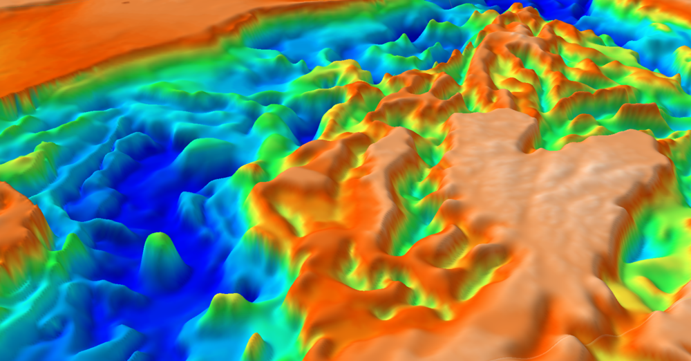 Frogtech Geoscience SEEBASE depth-to-basement model of the North Atlantic showing gas fields in green and oil fields in red.