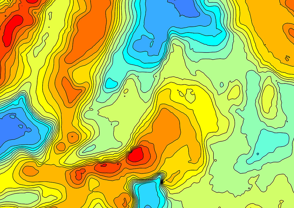 Guyana-Suriname Sediment thickness map detail.
