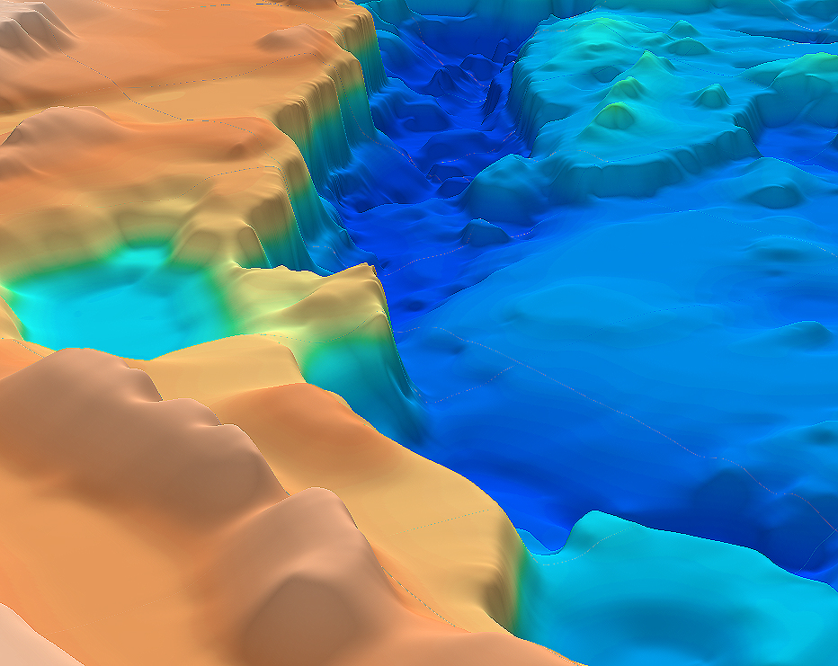 Guyana-Suriname SEEBASE depth-to-basement model, shown in 3D oblique view.