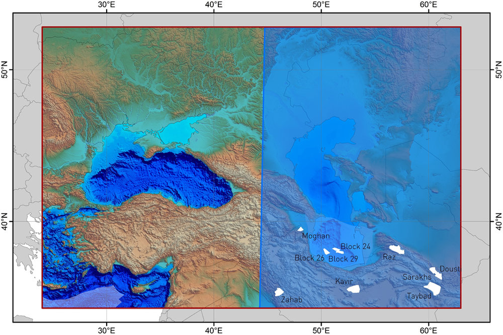 Northern Iran and Greater Caspian - Digital Elevation Model showing coverage of Iran 2017 blocks (in white) and Area of Interest (AOI) shaded in blue covering the greater Caspian.