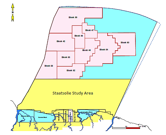 Complete coverage of STAATSOLIE - Open Door Invitation 2017, for Offshore Suriname open acreage (shown in aqua above), Source: STAATSSOLIE 2017.