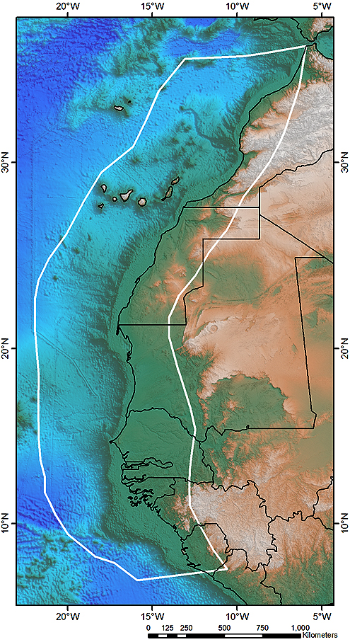 Northwest Africa Margin Study  - Area of Interest (white polygon) showing coverage.