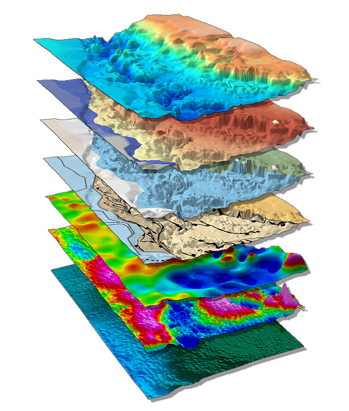 Above: Northwest Africa Margin SEEBASE 3D stack of data and interpreted layers.