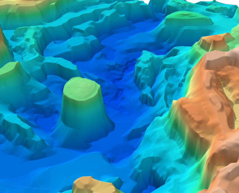 Oblique 3D image of part of the Rockall Trough SEEBASE®.