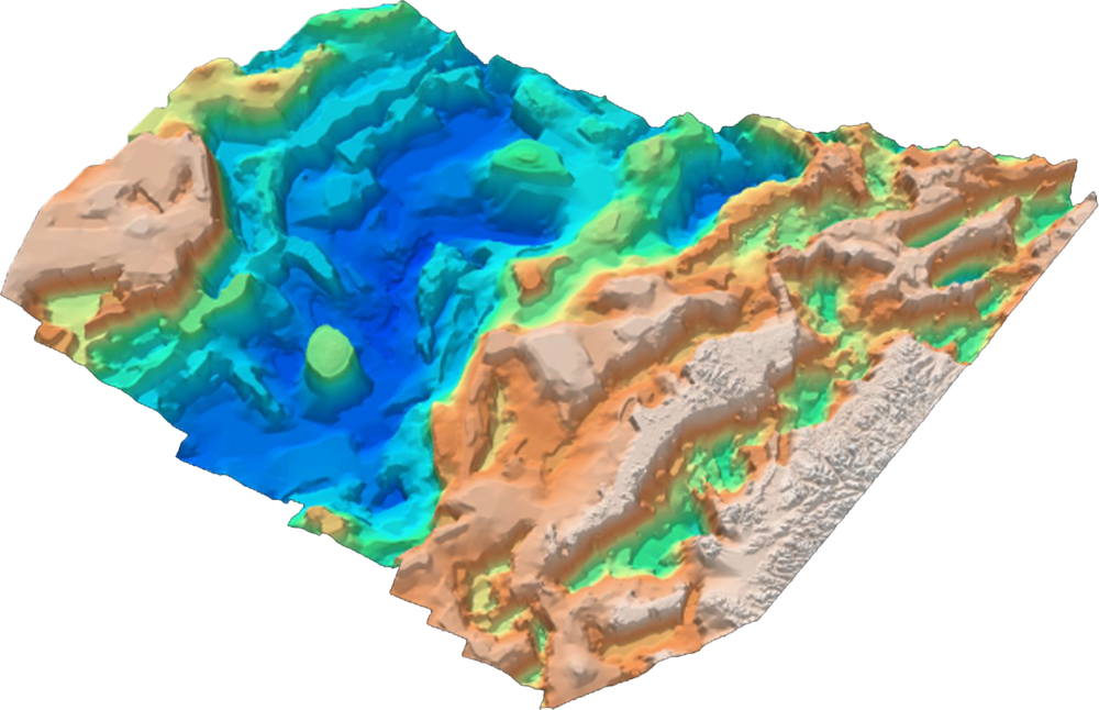 Above: Rockall Trough SEEBASE 3D stack of data and interpreted layers.