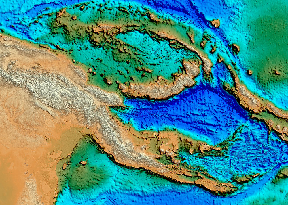 Papua New Guinea SEEBASE® Digital Elevation Model showing product coverage.