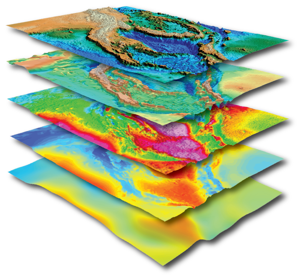 "Papua New Guinea SEEBASE® 3D stack of data and interpreted layers, featuring Frogtech's ""Bottom-up"" approach to basin analysis, providing a range of key deliverables that include potential field datasets, basement geology, SEEBASE®, tectonostratigraphic history, and present-day basement heat flow."