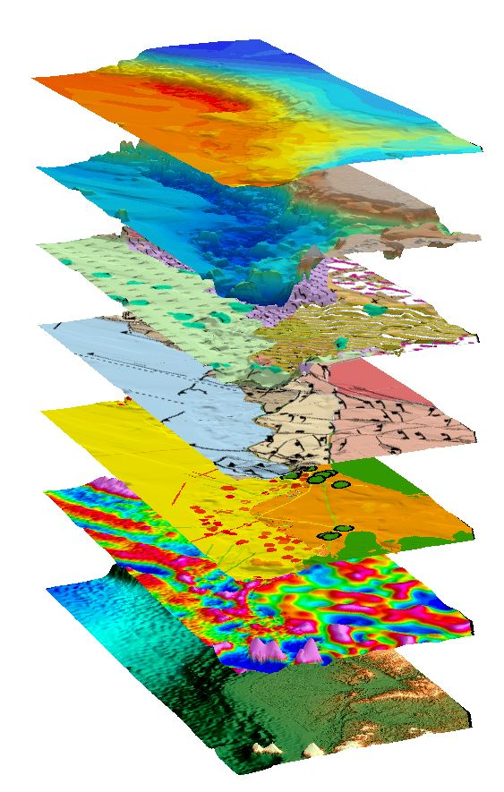 Above:  Equatorial West Africa SEEBASE®  stack of data and interpreted layers.