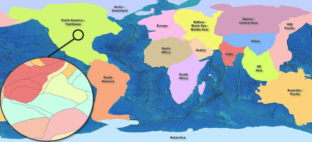 Global Terranes is available as pre-defined subsets as shown on the map above. The inset image shows a sample of terranes coloured by terrane type.Oceanic terranes are not shown on the image.