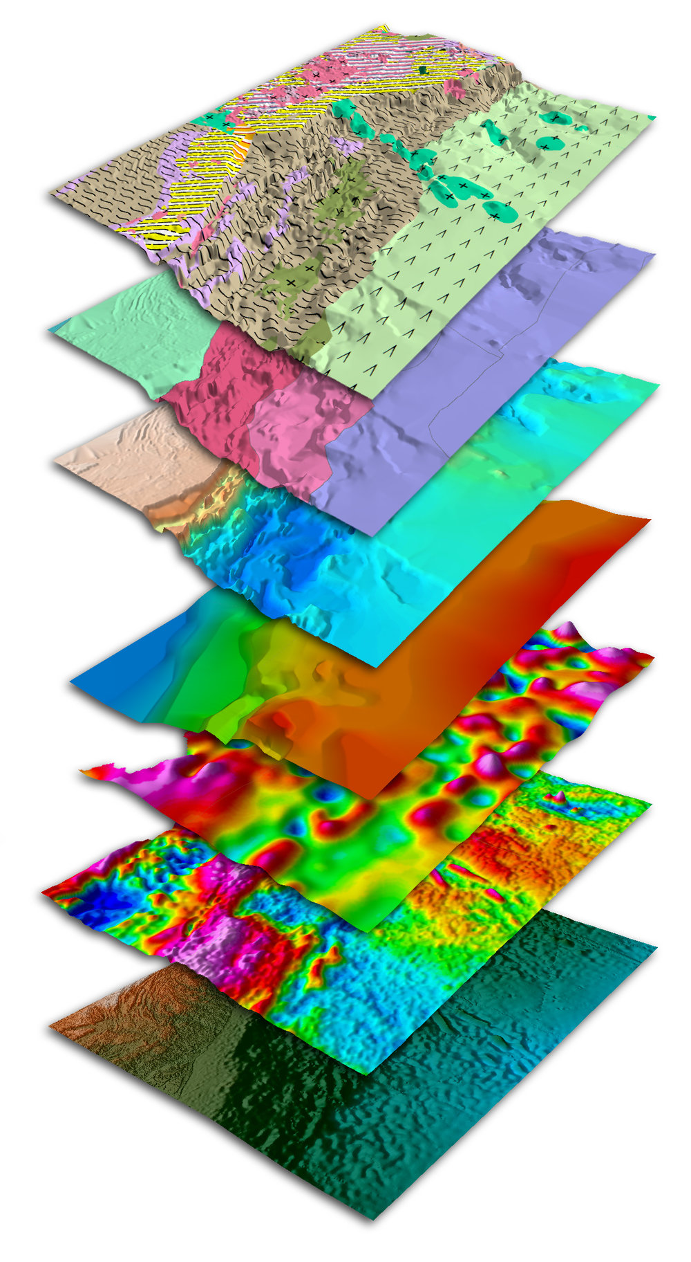 Above:  Southwest Africa Margin SEEBASE®  stack of data and interpreted layers.