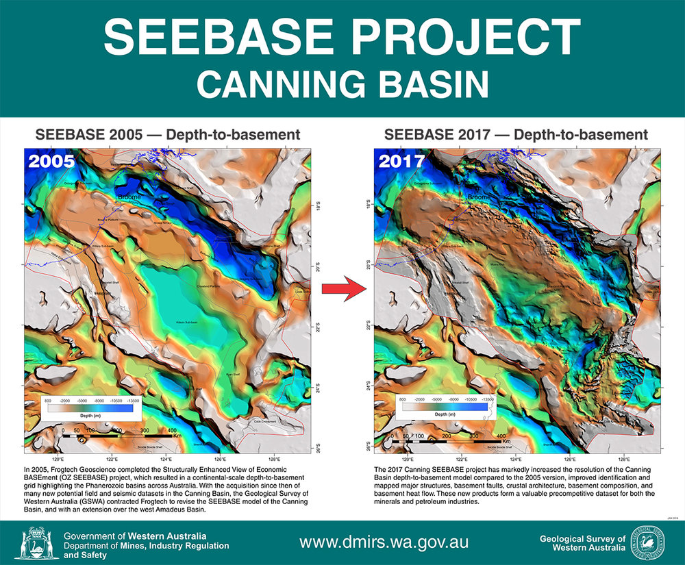 (Above) Poster publication of the Canning Basin SEEBASE Project, Government of Western Australia, Department of Mines, Industry Regulation and Safety.