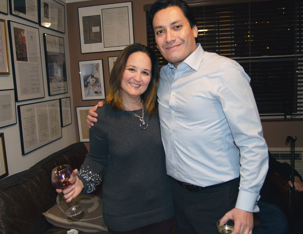 BeyondPR founder Beth Feldman with Ambassador Public Affairs' head Luis Miranda at the 360bespoke 2018 holiday party.