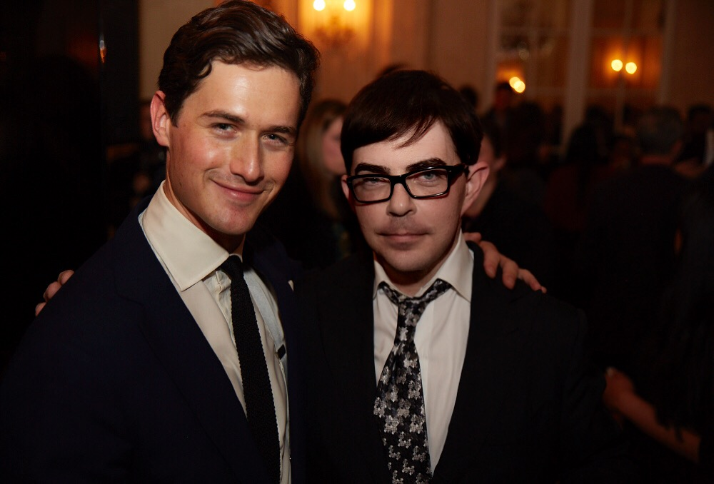 """Violinist Charlie Siem with 360bespoke Jeremy at a party debut for his hit single """"Canopy,"""" which Siem write and performed. The Mandarin Oriental Hyde Park London sponsored the event."""