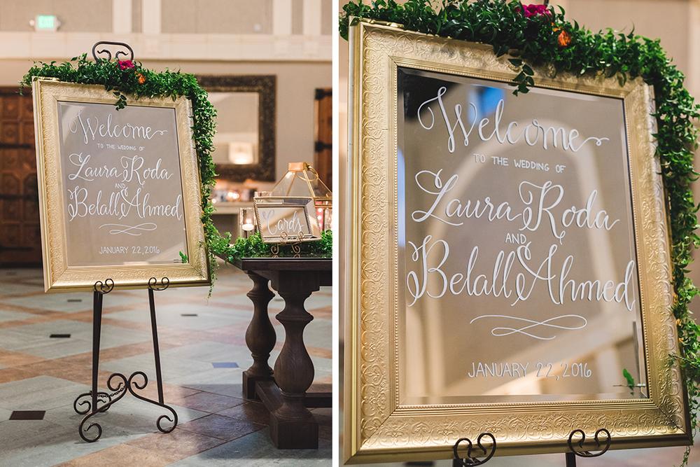 Sweet + Crafty | Mirror hand lettered unplugged ceremony sign #sweetandcrafty #welcomesign #goldmirror #wedding #handlettering #calligraphy #weddingwelcome#romantic #elegant #luxurywedding #customdesign #mirror #weddingwelcomesign #calarealwedding #livermorevalley #weddingsignage