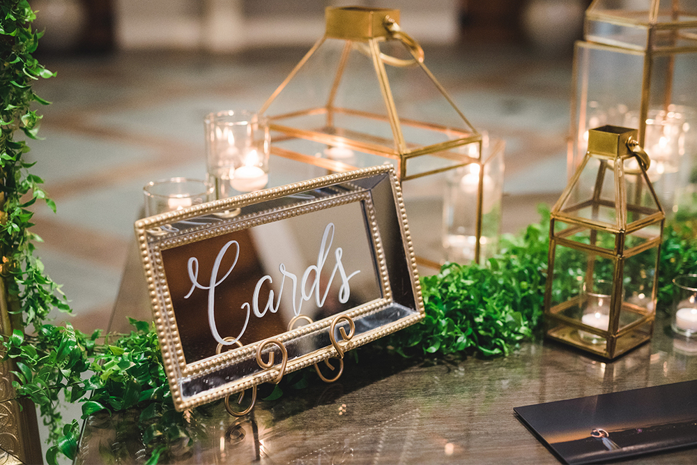 "Sweet + Crafty | Mirror hand lettered ""cards"" sign #sweetandcrafty #weddingsignage #handlettering #calligraphy #candles #romantic #elegant #gold #luxurywedding #garland #greenery #weddingflowers #floralgarland #customdesign #mirror #mirrorsignage #mirrorsign #mirrorgiftssign #weddinggifts #giftssign #cardssign #weddingcards #weddingcardssign #wedding #calarealwedding #livermorevalley"