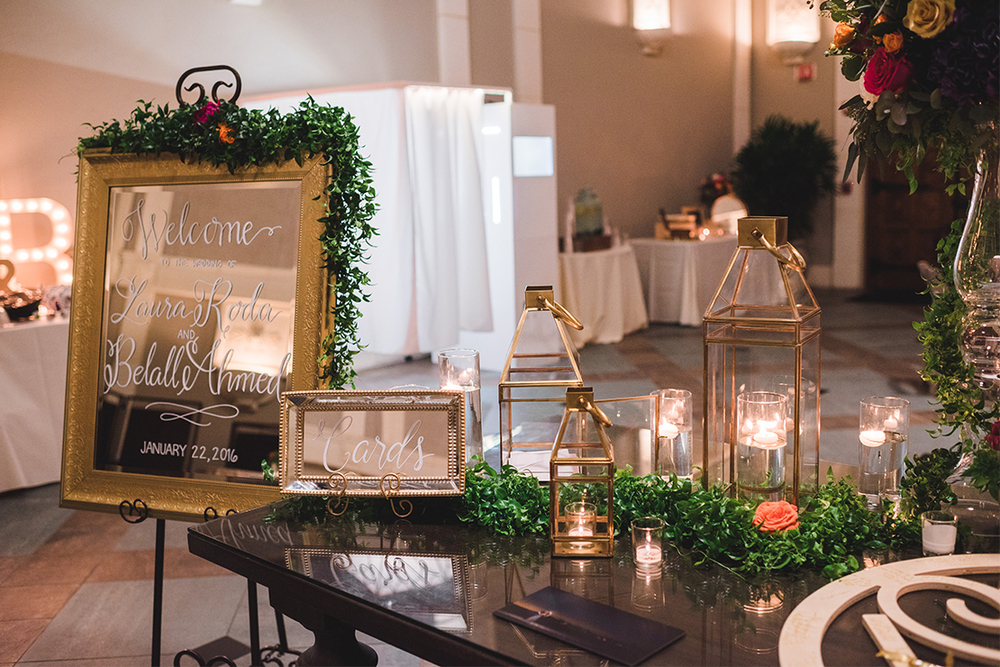 Sweet + Crafty | Wedding welcome table signge #sweetandcrafty #weddingsignage #handlettering #welcomesign #welcometable #weddingwelcome #weddignwelcomesign #calligraphy #candles #romantic #elegant #gold #luxurywedding #garland #greenery #weddingflowers #floralgarland #customdesign #mirror #mirrorsignage #mirrorsign #mirrorguestbooksign #weddingguestbook #guestbooksign #weddingguestbooksign #pleasesignourguestbook #weddingsignintable #signintable #wedding #calarealwedding #livermorevalley #cardssign #weddingcardssign #cardsandgifts #giftsign