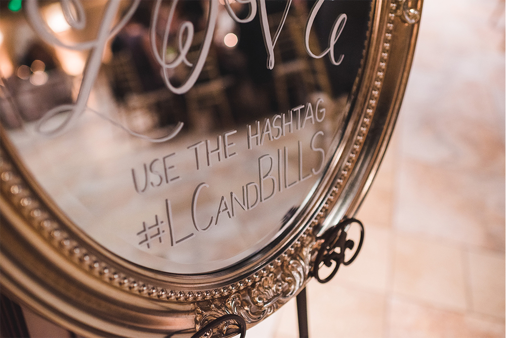 Sweet + Crafty | Mirror hand lettered wedding Hashtag sign #sweetandcrafty #weddingsignage #handlettering #calligraphy #romantic #elegant #gold #luxurywedding #hashtagsign #hashtag #weddinghashtag #weddinghashtagsign #customdesign #mirror #mirrorsignage #mirrorsign #wedding #calarealwedding #livermorevalley