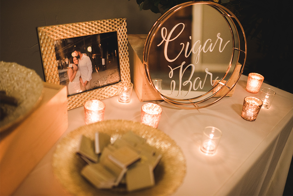 Sweet + Crafty | Wedding mirror cigar bar sign #sweetandcrafty #weddingsignage #handlettering #calligraphy #romantic #elegant #gold #luxurywedding #customdesign #mirror #mirrorsignage #mirrorsign #wedding #calarealwedding #livermorevalley #cigarbar #cigarbarsignage #weddingcigars #weddingcigarbar