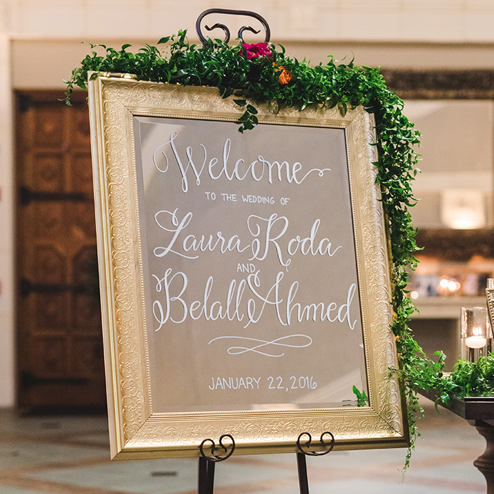 Sweet + Crafty | Wedding Mirror Welcome Sign Calligraphy