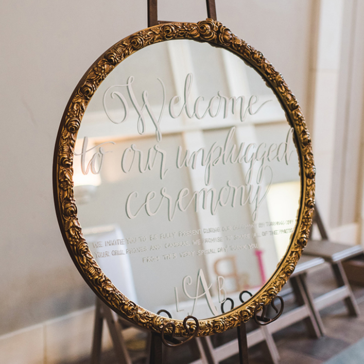 Sweet + Crafty | Wedding Mirror Unplugged Ceremony Sign Calligraphy